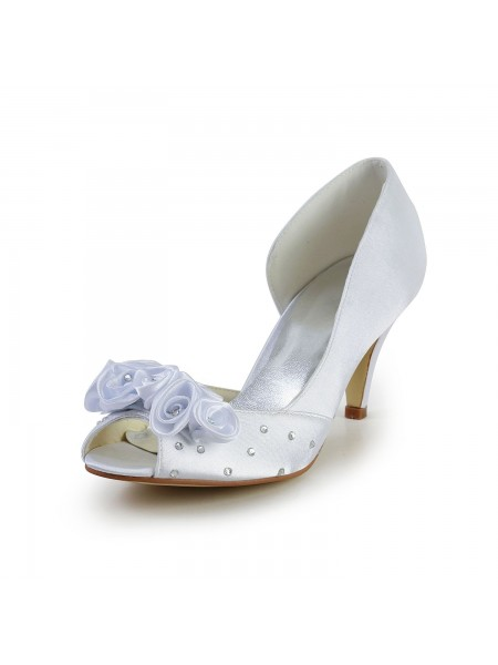 Women's Satin Cone Heel Peep Toe White Wedding Shoes With Flower Rhinestone