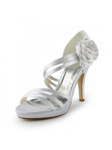 Women's Satin Stiletto Heel Platform Sandals White Wedding Shoes With Flower