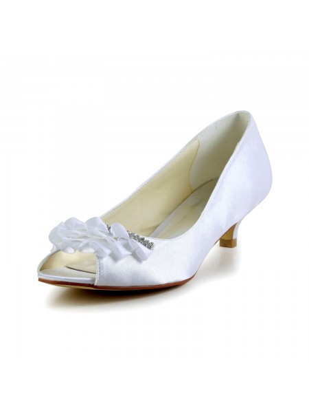 Women's Satin Kitten Heel Peep Toe Sandals Wedding Shoes Rhinestone
