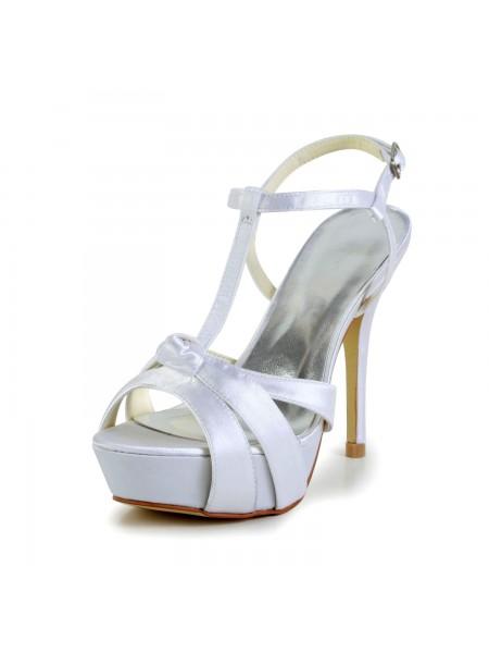 Women's Satin Stiletto Heel Peep Toe Slingbacks Sandal White Wedding Shoes With Buckle