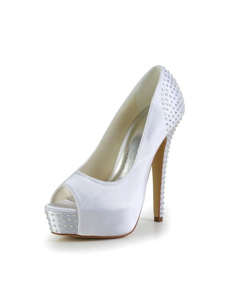 067a272064 Women's Satin Stiletto Heel Peep Toe Platform White Wedding Shoes With  Rhinestone