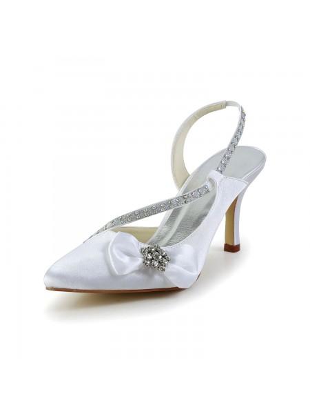 Women's Satin Closed Toe Spool Heel With Rhinestone Bowknot White Wedding Shoes