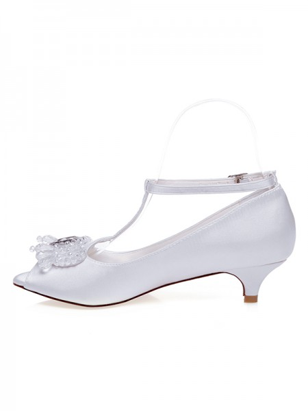 Women's Satin Peep Toe Cone Heel Pearls Wedding Shoes