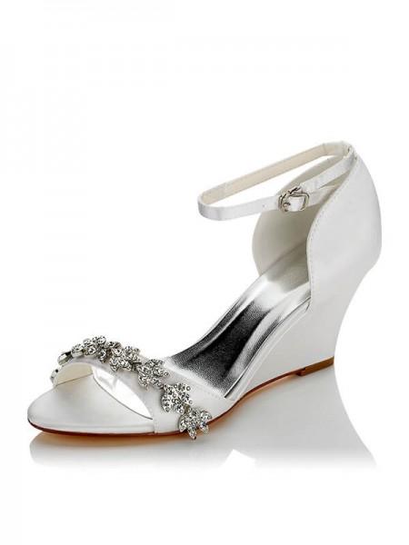 Women's Satin PU Peep Toe Wedge Heel Wedding Shoes