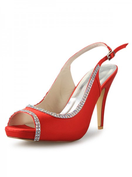 Women's Satin Platform Cone Heel Peep Toe With Rhinestone Red Wedding Shoes