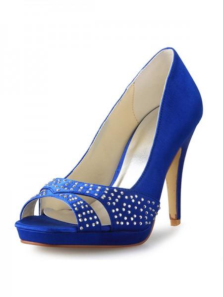 Women's Cone Heel Peep Toe Satin With Rhinestone High Heels