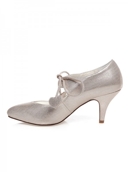 Women's PU Closed Toe Lace-Up Spool Heel Wedding Shoes