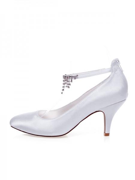 Women's Satin Closed Toe Beading Spool Heel Wedding Shoes