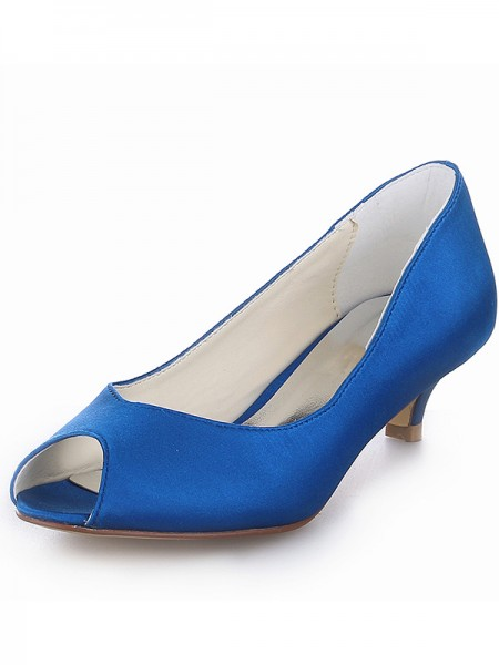 Women's Kitten Heel Satin Peep Toe High Heels