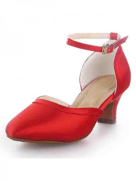 Women's Closed Toe Kitten Heel Satin With Buckle High Heels