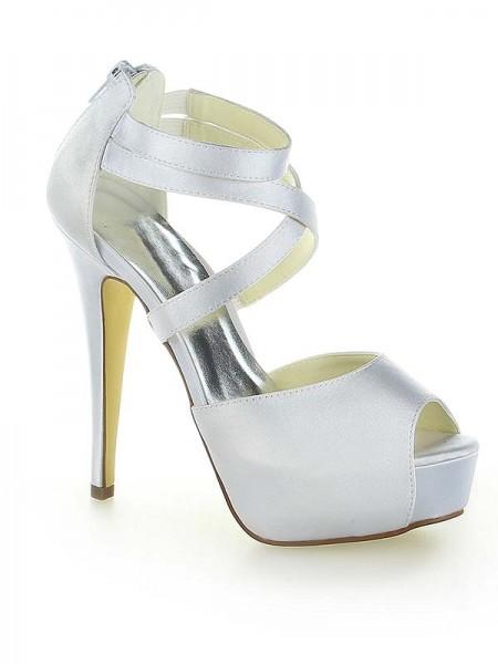 Women's Satin Platform Peep Toe With Zipper Stiletto Heel White Wedding Shoes