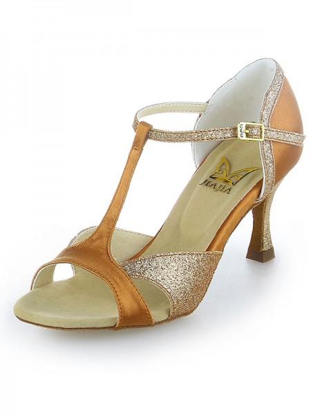 Women's Satin Peep Toe Sparkling Glitter Stiletto Heel Dance Shoes