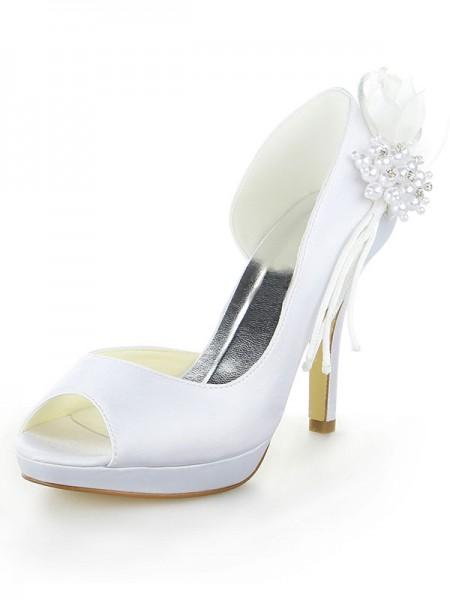 Women's Satin Platform Peep Toe Stiletto Heel With Pearl White Wedding Shoes