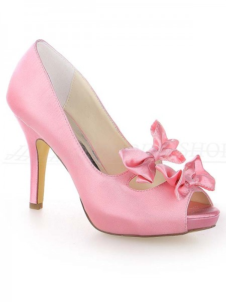Women's Satin Peep Toe Stiletto Heel Platform With Bowknot Watermelon Wedding Shoes