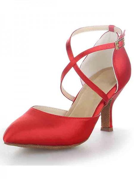 Women's Spool Heel Satin Closed Toe With Buckle Sandal High Heels