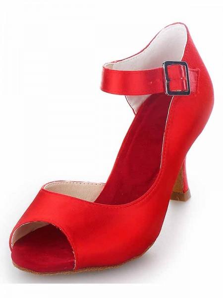 Women's Satin Peep Toe Spool Heel With Buckle High Heels