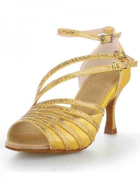 Women's Peep Toe Stiletto Heel Satin Sparkling Glitter Dance Shoes