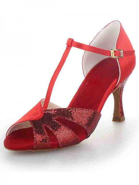 Women's T-Strap Peep Toe Stiletto Heel Satin Sparkling Glitter Dance Shoes