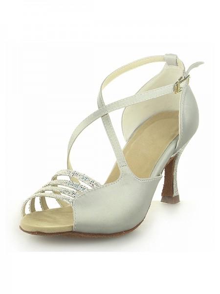 Women's Peep Toe Satin Spool Heel With Buckle Ivory Wedding Shoes