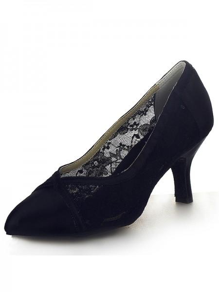 Women's Closed Toe Satin Cone Heel Office High Heels