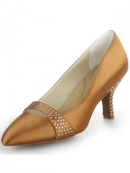 Women's Satin Cone Heel Closed Toe With Rhinestone High Heels
