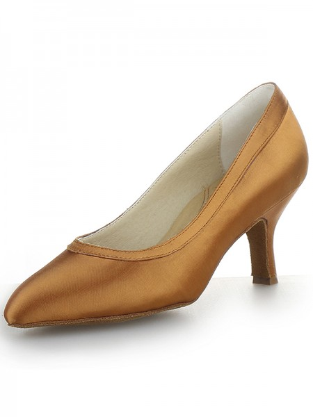Women's Satin Closed Toe Cone Heel High Heels