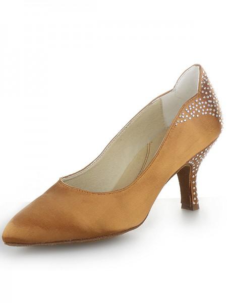 Women's Cone Heel Satin Closed Toe With Rhinestone High Heels