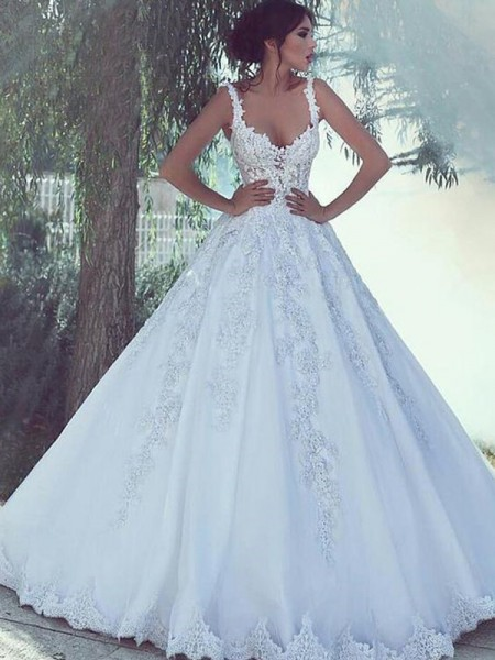 Ball Gown Spaghetti Straps Sleeveless Floor-Length Applique Tulle Wedding Dresses