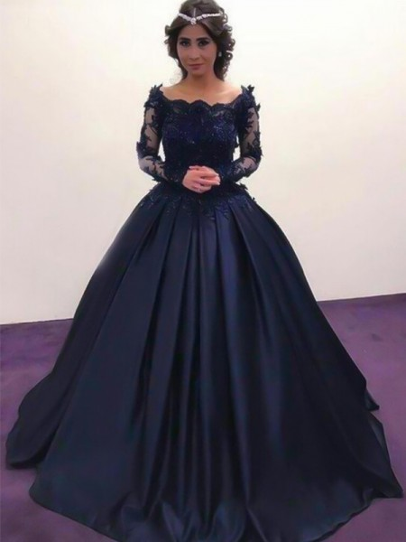 Ball Gown Bateau Long Sleeves Sweep/Brush Train Applique Satin Dresses