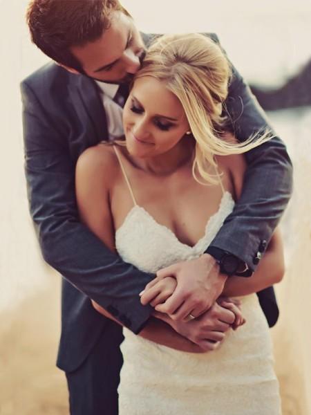 Sheath/Column Spaghetti Straps Sleeveless Sweep/Brush Train Ruffles Lace Wedding Dresses