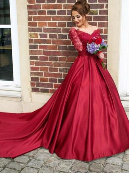 A-Line/Princess V-neck Long Sleeves Sweep/Brush Train Lace Satin Dresses