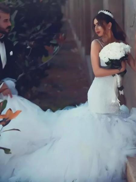 Trumpet/Mermaid Spaghetti Straps Sleeveless Court Train Lace Tulle Wedding Dresses