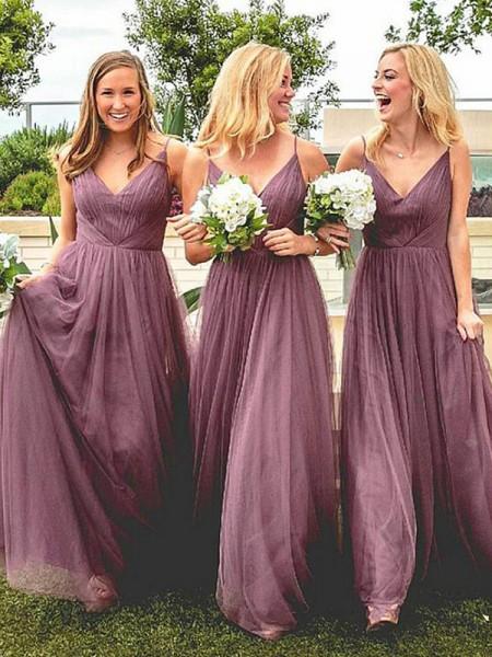 A-Line/Princess Spaghetti Straps Sleeveless Floor-Length Ruffles Tulle Bridesmaid Dresses