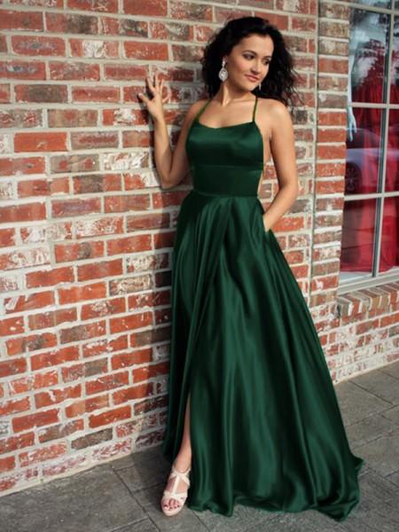 A-Line/Princess Straps Sleeveless Sweep/Brush Train Ruffles Silk like Satin Dresses