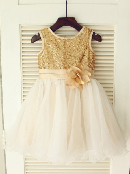 A-line/Princess Scoop Sleeveless Sequin Long Organza Dresses