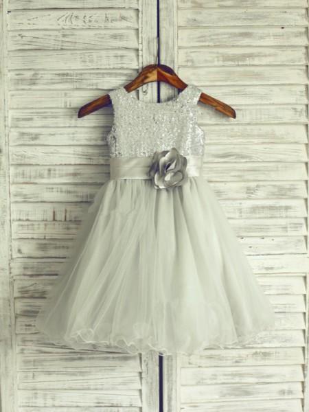 A-line/Princess Scoop Sleeveless Hand-Made Flower Long Net Dresses